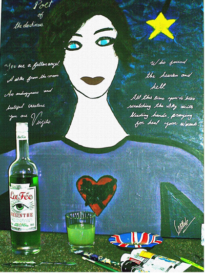'Get Inspired' painting with bottle of La Fée absinthe