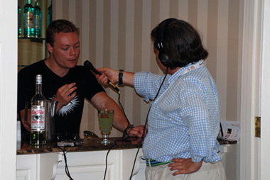 Adam being interviewed at Tales of the Cocktail
