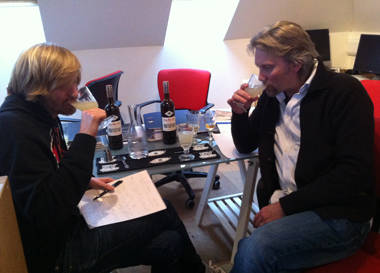 George Rowley & Oscar Dodd tasting a new batch of La Fée X•S