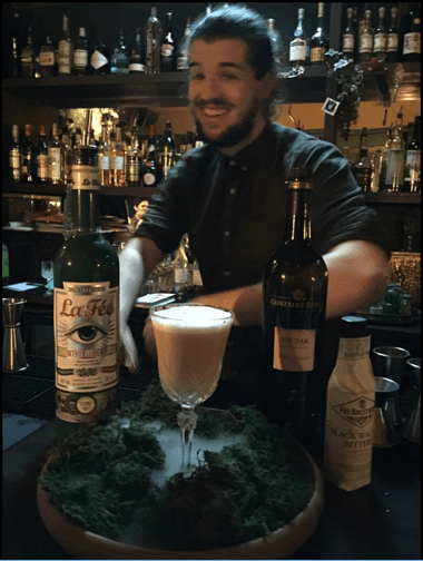 Tom Kinley at Some Place Liverpool making La Fée absinthe cocktails