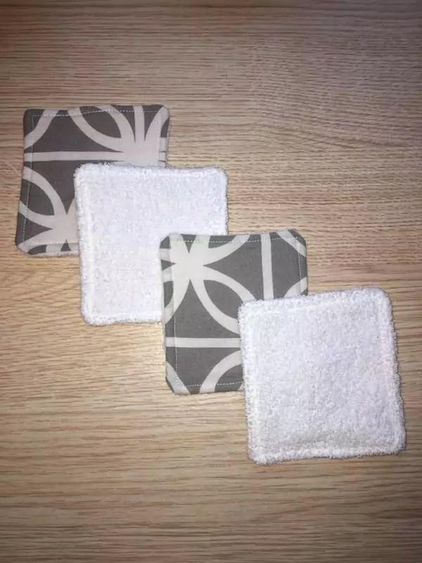 lingette motif gris éponge blanche