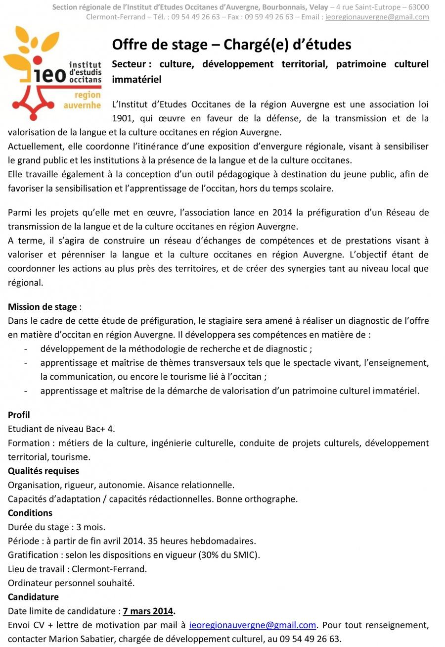 Offre de stage IEO région Auvergne-2014
