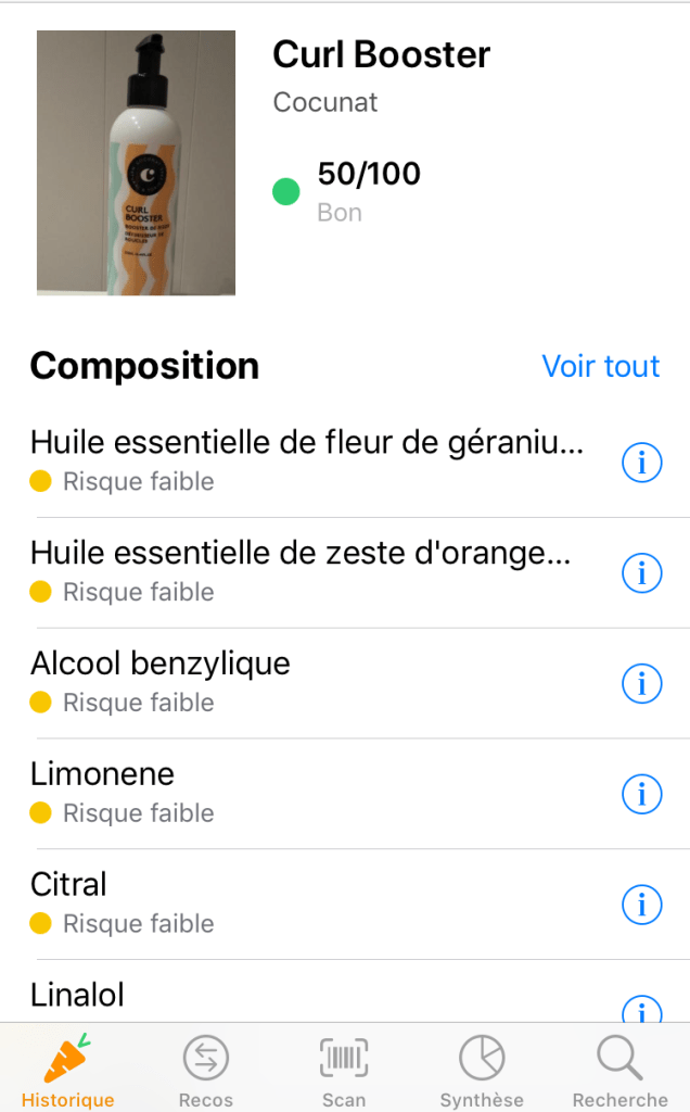 Composition produits Cocunat