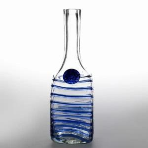 Botella Vidrio Hilo Azul