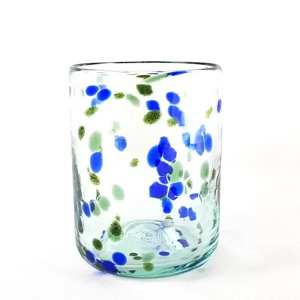 vaso vidrio azul y verde lafiore