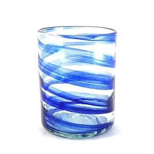 vaso de vidrio azul