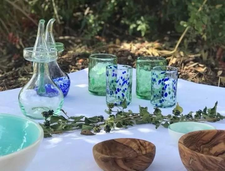 vidrio azul y verde lafiore