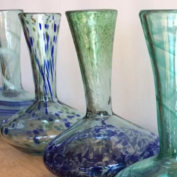decantador de vino de vidrio hecho a mano
