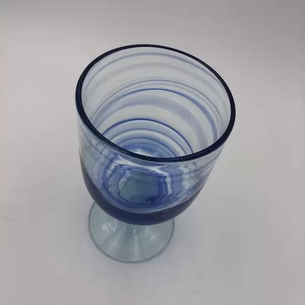 copa vidrio mar azul