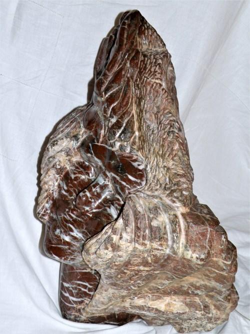 Lucie, ou Lucy l'australopithèque et son univers immortalisée par l'artiste. Le visage de Lucie est tourné vers le ciel. En haut à gauche, est sculpté un soleil, sur le coté droit une ammonite et un coquillage, au verso des feuillages, un oiseau un poisson etune goute d'eau. Ce sont les éléments de surie de Lucie