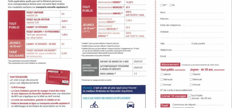 Tarifs 2020 des transports par car