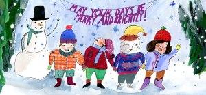Brightly holiday card