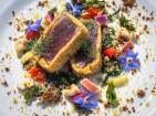 5)Tataki di tonno Alalunga in crosta di cuscus e Bottarga, Verdure Aspre, Miele di Mandorlo e Finocchietto Selvatico.