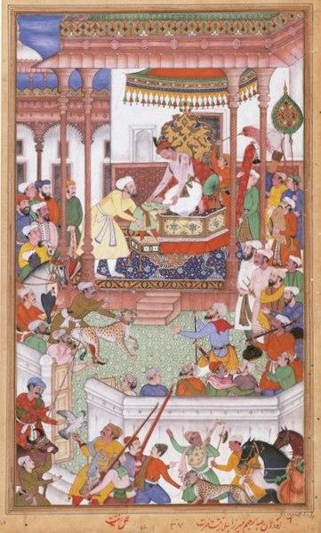 File:Young Abdul Rahim Khan-I-Khana being received by Akbar, Akbarnama.jpg