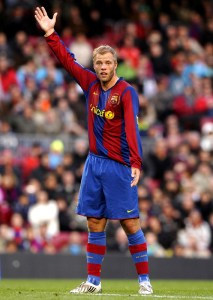 BARCELONA, SPAIN - MARCH 23: Gudjohnsen of Barcelona reacts during the La Liga match between Barcelona and Valladolid at the Camp Nou stadium on March 23, 2008 in Barcelona, Spain. Barcelona won 4-1.  (Photo by Manuel Queimadelos Alonso/Getty Images) *** Local Caption *** Gudjohnsen