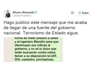 Álvaro Alvarado denuncia en Twitter advertencias por parte del Gobierno en busca de su silencio