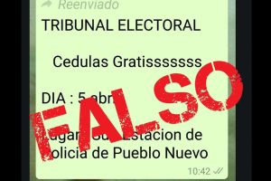 "VERIFICADO. T.E. desmiente mensaje de ""whatsapp"" sobre entrega de cédulas gratis"
