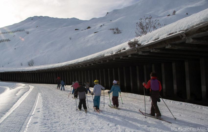 Groupe d'enfants en ski de fond