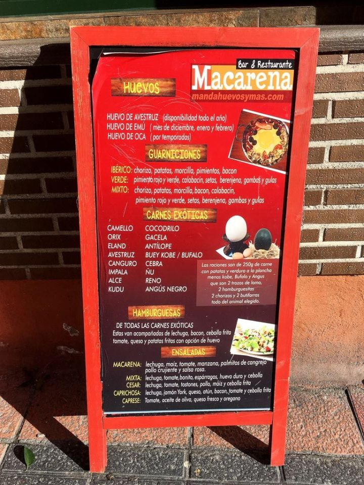Bar-Macarena-Restaurante-Carnes-Huevos-Exoticos-Vallecas-Cartel-Exterior