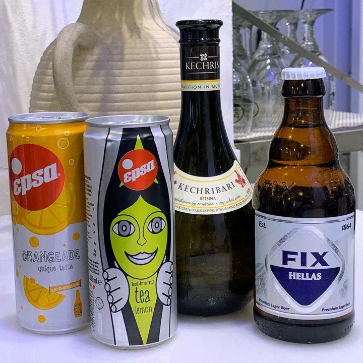 Bebidas-griegas-Refresco-Epsa-Cerveza-Fix-Hellas-Vino-Kechriari-Retsina---Egeo-Suvlakeria-Griega-Restaurante-Madrid