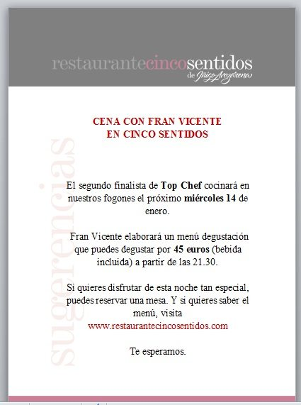 Promocionar un evento en tu restaurante, eventos gastronomicos, fran vicente, top chef, restaurantes madrid, marketing gastronomico, como promocionar un evento,