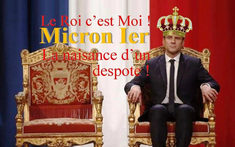Macron playing at being king, cartoon