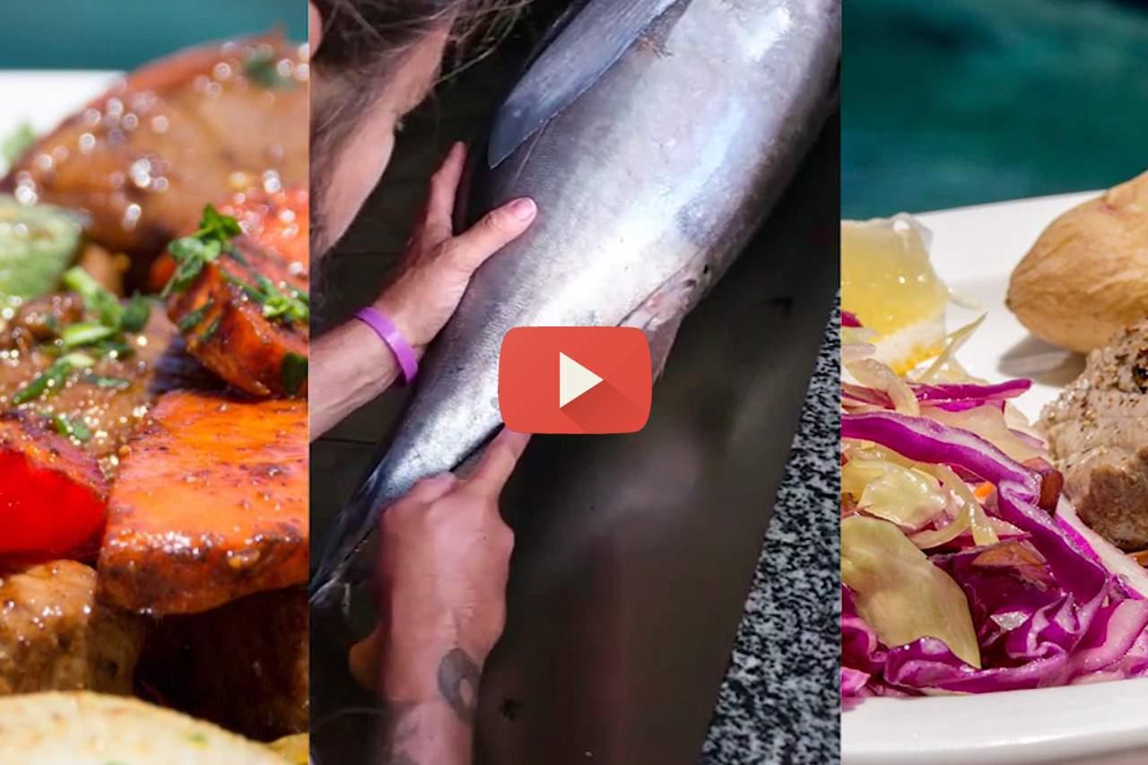 """""""Ronqueo del Barrilote"""" Despiece de Atún en el Bar Charco Azul · Tapas con Sabor a Mar · Piscinas Naturales El Charco Azul · San Andrés y Sauces · La Palma · Islas Canarias"""