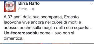 Il post incriminato di Birra Raffo