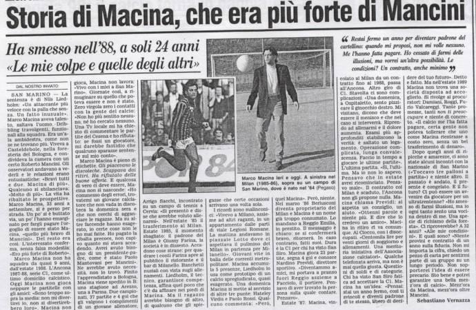 Marco Macina, quello più forte di Mancini