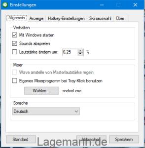 3RVX Lautstärke auf WindowsPC