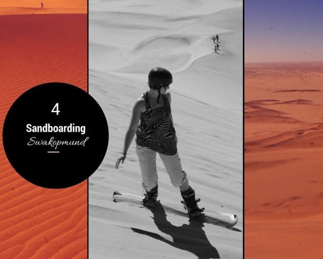 faire du surf sandboarding sur le sable en namibie