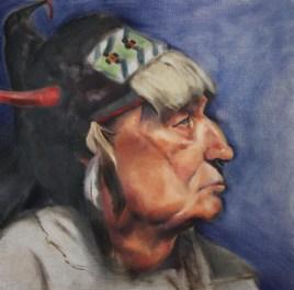 """Native American Portrait"". Oil on birch panel. 2012."