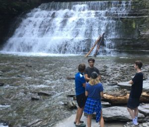 Lagom Landing Gap Year Students in from of waterfall at Stony Brook State Park New York
