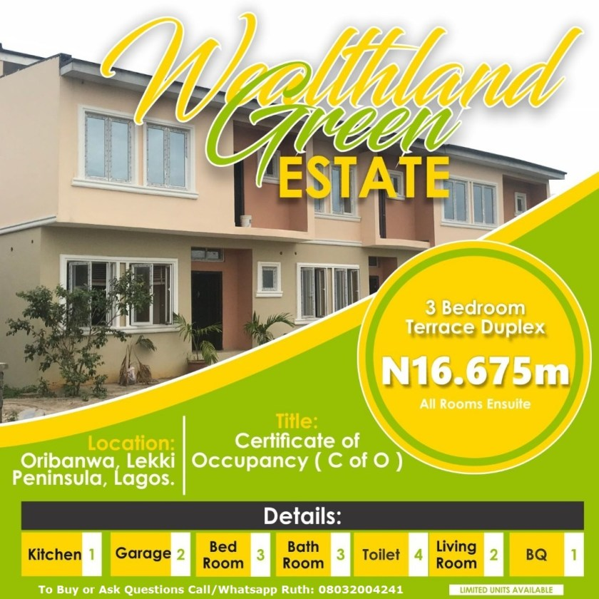 cheap and affordable 3 bedroom terrace duplex house for sale in lagos nigeria
