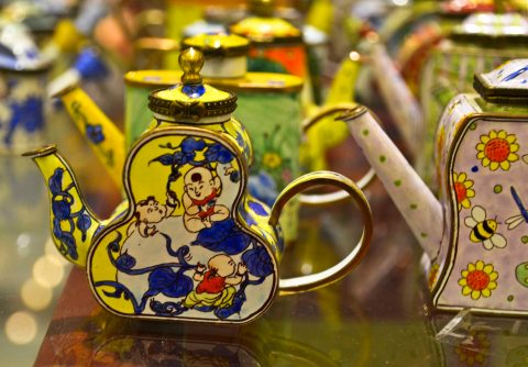 Some of my favourites were these tiny teapots with lovely patterns