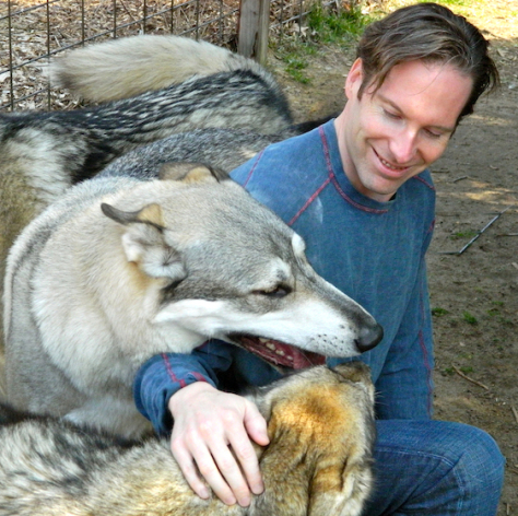 Playing with wolves at Howling Woods Farm, NJ