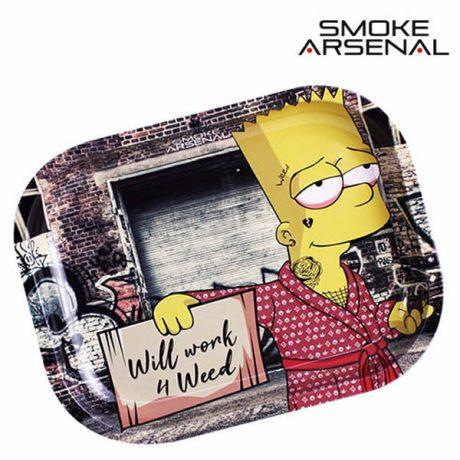 "Plateau métal Smoke Arsenal Bart ""Will Work"". Dim: 18 x 14cm"
