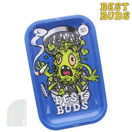 """plateau Best Buds """"Green Head"""" + Grinder aimanté plastique. Dim: 27,5 x 17,5cm"""