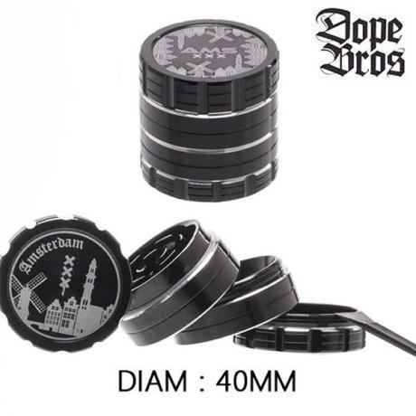Grinder Alu Dope Bros Amsterdam Noir 40mm