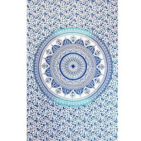 "Tenture Indienne ""Lotus"" Bleu"