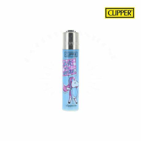 Briquet clipper unicorn signs bleu