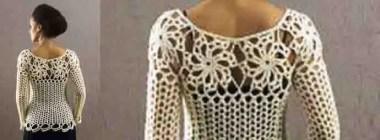 Tricot et crochet pour un très beau pull