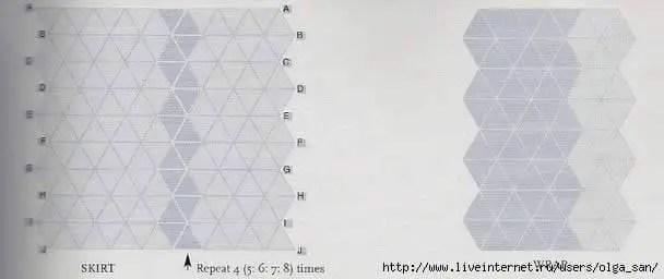 Des triangles pour un ensemble châle-jupe