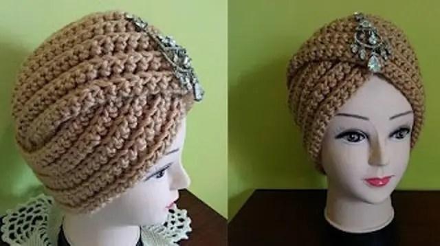 un turban vintage au crochet ou au tricot la grenouille tricote. Black Bedroom Furniture Sets. Home Design Ideas