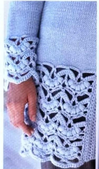 Une veste tricot-crochet avec une belle bordure pop corn