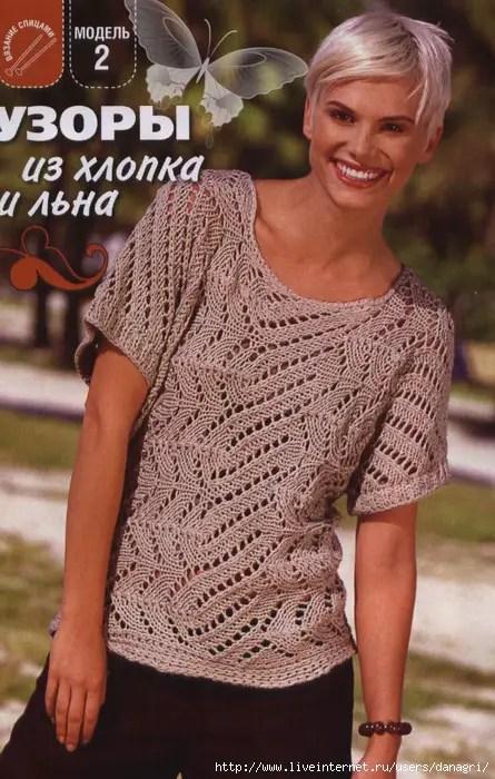 Au tricot un pull à manches courtes