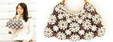 Un sac avec des granny de fleurs au crochet