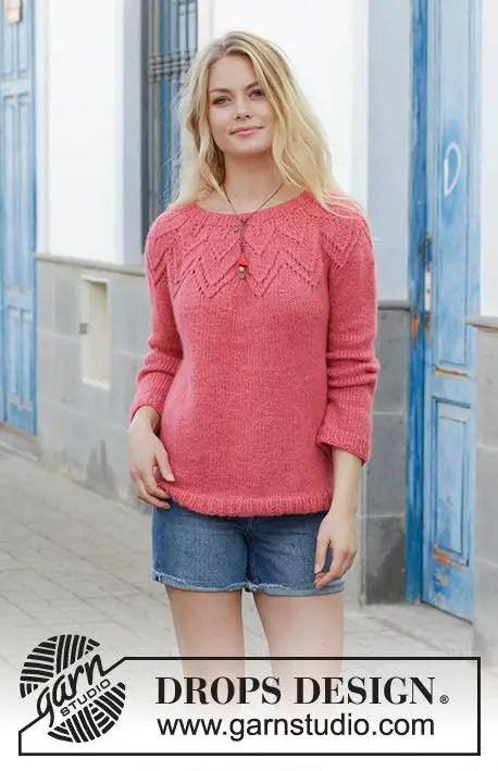 un pull top down au tricot de Drop's, pull d'hiver pour les femmes