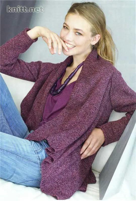 une veste au tricot réalisée en 1 fois