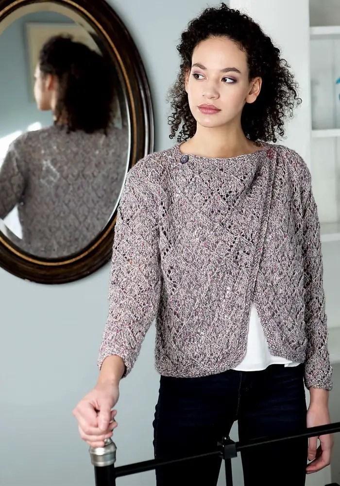 une veste croisée au tricot
